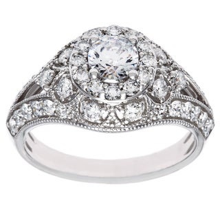 Cambridge 14k White Gold 1 3/8ct TDW Diamond Vintage Engagement Ring (I-J, I2-I3)