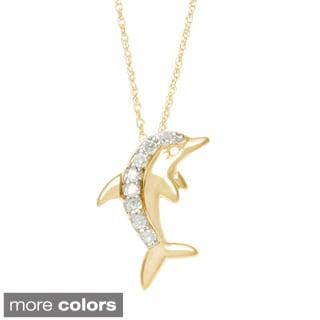 10k White or Yellow Gold 1/10ct TDW Diamond Dolphin Necklace