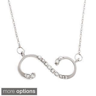 10k White or Yellow Gold 1/10ct TDW Diamond Infinity Necklace