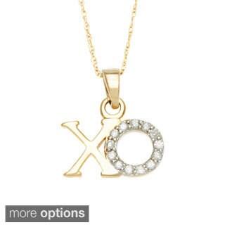 10k White Gold 1/10ct TDW XO Diamond Pendant