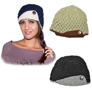 Flip and button-up Hand-knit Fleece-lined Woolen Hat (Nepal)