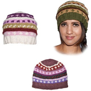 Hand-knit Fleece-lined Woolen Basic Beanie Hat (Nepal)
