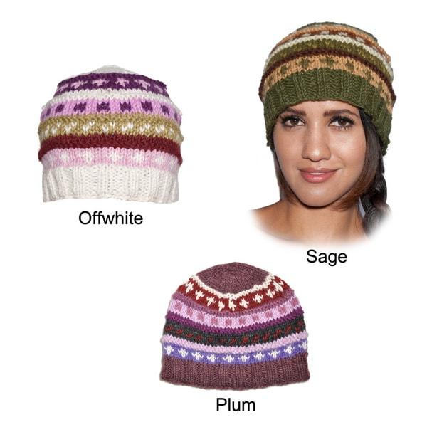 Hand-knit Fleece-lined Woolen Basic Beanie Hat (Nepal)
