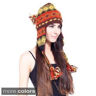 Vibrantly Festive Hand-knit Woolen Ear Flap Hat (Nepal)
