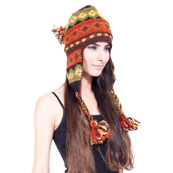 Vibrantly Festive Handmade Woolen Ear Flap Hat (Nepal) 11824066