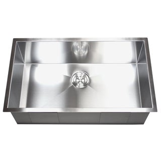 32-inch Stainless Steel Single Bowl Undermount Zero Radius Kitchen Sink 16 Gauge