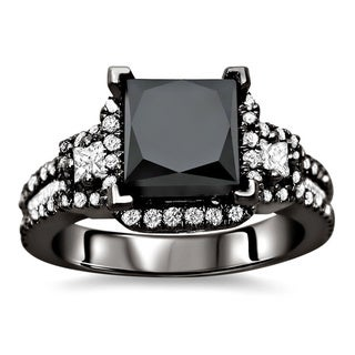 18k Black Gold 2 4/5ct TDW Certified Black and White Diamond Ring (E-F, VS1)