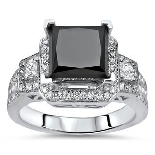 18k White Gold 2 3/4ct TDW Certified Black and White Diamond Ring (E-F, VS1)