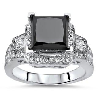 Noori 18k White Gold 2 3/4ct TDW Certified Black and White Diamond Ring (E-F, VS1)