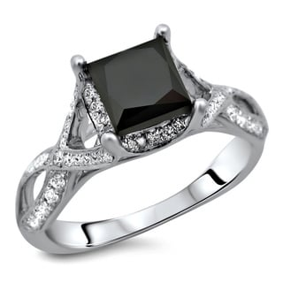 18k White Gold 2 1/3ct TDW Certified Black Diamond Ring (E-F, VS2)
