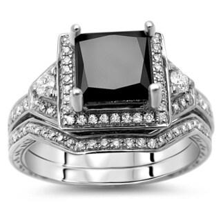 14k White Gold 2ct TDW Certified Black Princess Cut Diamond Bridal Set (G-H, SI1)
