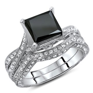 14k White Gold 3 2/5ct TDW Certified Black Diamond Princess Cut Ring (G-H, SI1-SI2)