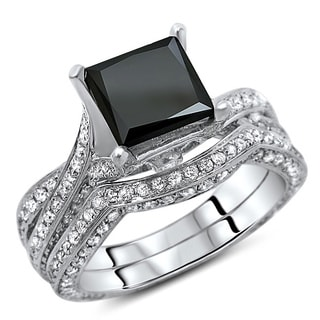 14k White Gold 3 1/4ct TDW Certified Black Diamond Princess Cut Ring (G-H, SI1-SI2)