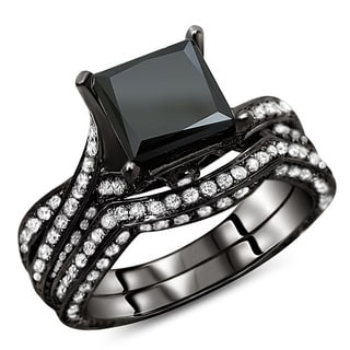 Noori 14k Black Gold 3 1/2ct TDW Certified Black Diamond Bridal Ring Set