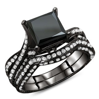 14k Black Gold 3 1/4ct TDW Certified Black Diamond Bridal Ring Set (G-H, SI1-SI2)