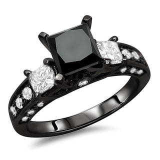14k Black Gold 2 3/8ct TDW Certified Black and White Diamond Ring (F-G, SI1)