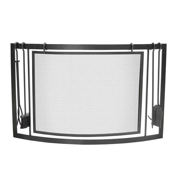Napoleon Black Curved Fireplace Screen/ Tool Set