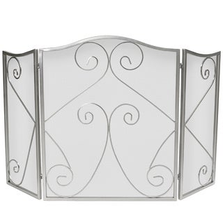 Napoleon Satin Nickel Plated Arched 3-part Folding Fireplace Screen