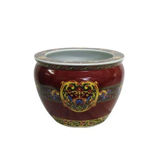 Regal Red Porcelain Fishpot