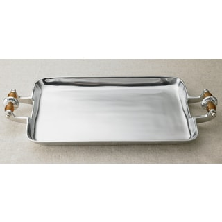 Amber Beaded Aluminum Serving Tray