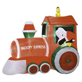 5-foot Airblown Peanuts Train with Snoopy and Woodstock Scene