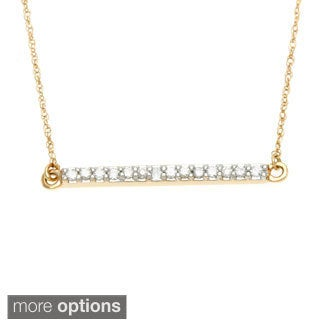 10k White Gold 1/10ct TDW Diamond Bar Necklace