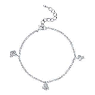 Silver 1/4ct TDW Diamond Heart, Butterfly and Cross Bracelet (J-K, I2-I3)