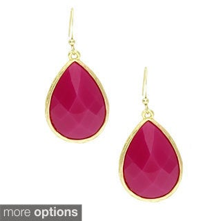 KC Signatures Gold Plated Oval Shaped Teardrop Earrings with Resin Stones