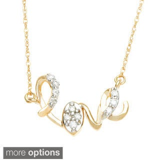"""10k White or Yellow Gold 1/10ct TDW Diamond """"Love"""" Necklace"""
