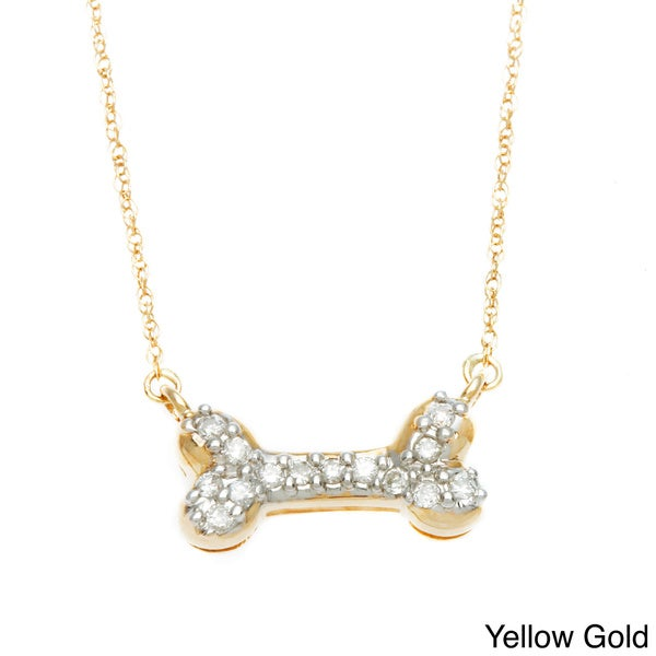 10K Gold and Diamond Dog Bone necklace