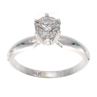 14k White Gold 3/4ct TDW Round Diamond Solitaire Engagement Ring (E-F, I1-I2)