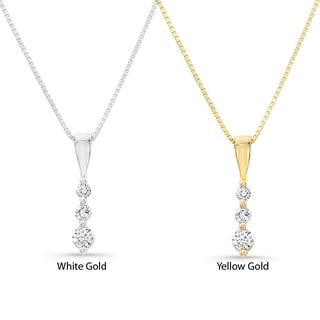 14k Gold 1/10ct TDW Diamond Journey Necklace (H-I, I2-I3)