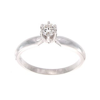 14k Gold 1/4ct TDW Certified Diamond Solitaire Engagement Ring (F-G, SI1-SI2)