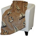 Denali Tan Sailboats Throw Blanket