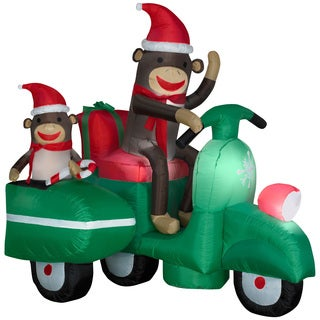 Airblown Sock Monkeys in Scooter Scene Large