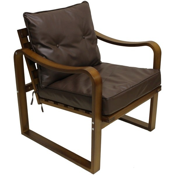 Stockholm Bentwood Faux Leather Slatted Back Chair with Seat and Back Cushions