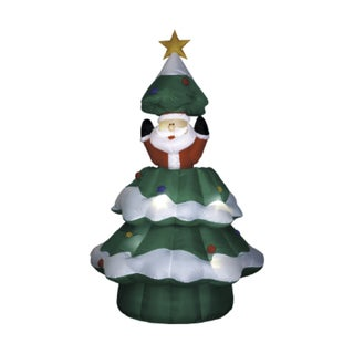 6.5-foot Animated Airblown Santa Rising from Christmas Tree