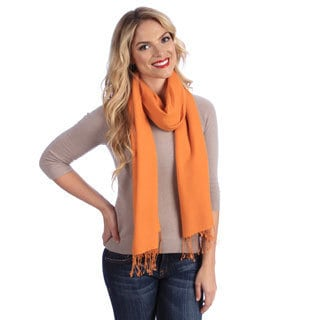 Women's Orange Flame Jacquard Cashmere and Silk Stole