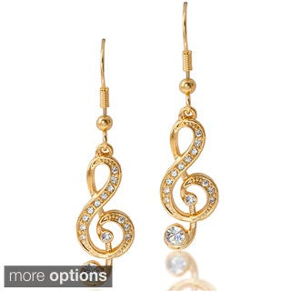 Goldtone or Silvertone Clear Crystal Music Note Earrings