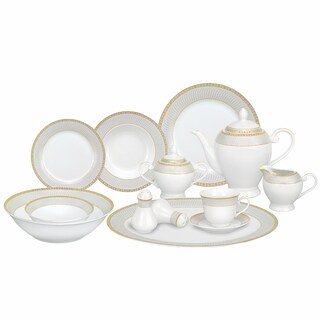Lorren Home Trends 57-piece Porcelain Gold Accent Dinnerware Set