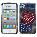 BasAcc Blue Jean Hearts Case with Studs for Apple iPhone 4/ 4S