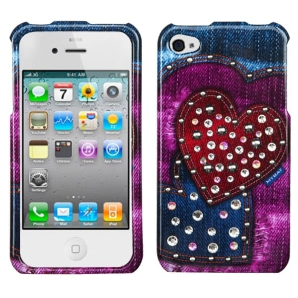 INSTEN Rainbow Jean Hearts Phone Case Cover with Studs for Apple iPhone 4/ 4S