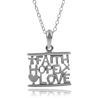 Journee Collection Sterling Silver Faith Hope Love Necklace