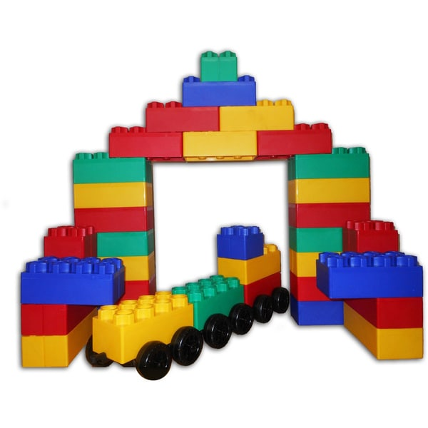 Jumbo Blocks with Wheels Train Station 60-piece Play Set