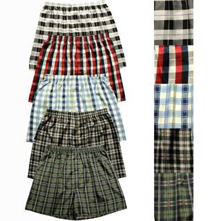 Del Rossa Men's Plaid Satin Boxer Shorts (Pack of 5)