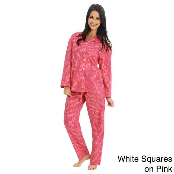 Del Rossa Women's Classic Woven Cotton Pajama Set
