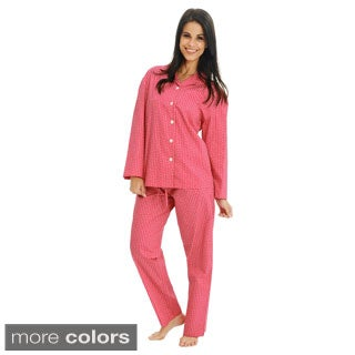 Del Rossa Women's Classic Woven Cotton Pajama Set