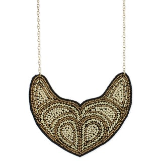Handcrafted Bronze and Cream Seed Bead Bib Necklace (India)
