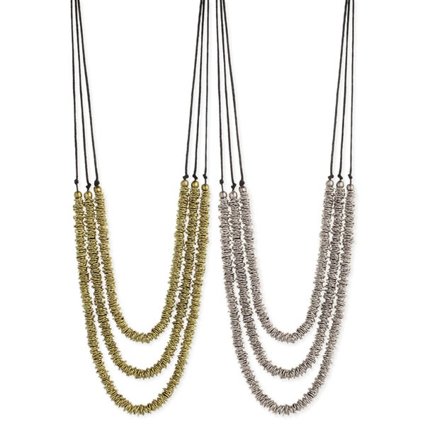Handcrafted Rows of Rings Three Strand Layered Necklace (India)