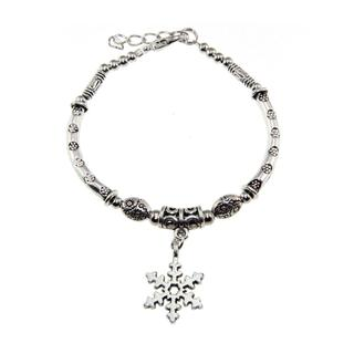 Tibetan Silver and Snowflake Charm Bracelet (China)